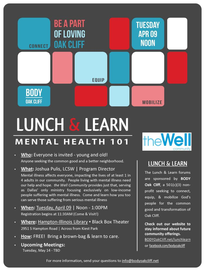 04.09.13 - Lunch & Learn (MentalHealth101) image